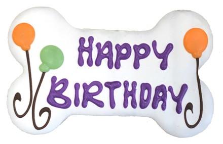 """6"""" Happy Birthday WHITE Bone Bulk - 6 Ct Case BKY:6in:00804"""