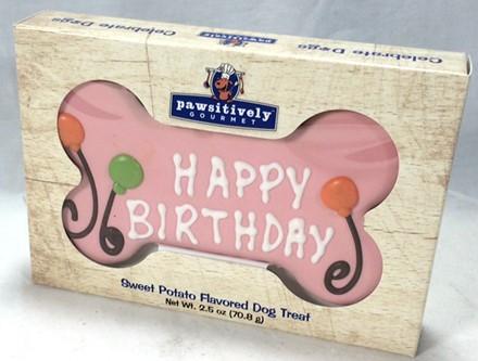 "6"" Pink Happy Birthday Bone  Gift Box - 6 Count Case 895"